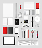 Office supplies mockup template, grey background