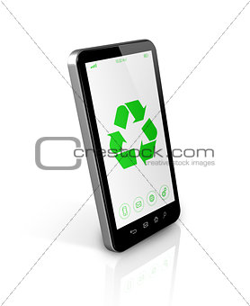 Smartphone with a recycle symbol on screen. environmental conser