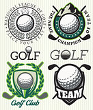 set vector patterns badges with attributes for golf