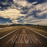 The Word Arizona on Road
