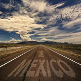 Desert Road With the Word Mexico
