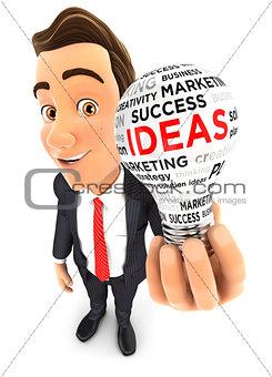 3d businessman light bulb