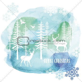 Watercolor Christmas card, vector
