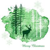 Watercolor Christmas card, vector