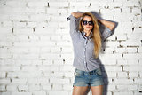 Fashion Street Style Teen Girl at Brick Wall