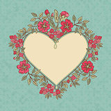 Vector vintage greeting card with a doodle red flowers bouquet and frame for text on retro dirty background