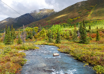 Autumn Scene with the South Fork of Eagle River, Alaska