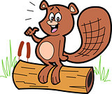 Cartoon Beaver On Log