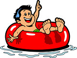 Boy Floating Inner Tube