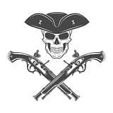 Evil captain skull in cocked hat vector. Jolly Roger logo template. death t-shirt design. Pistol insignia concept.