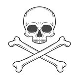 Human evil skull vector. Pirate insignia concept design. Jolly Roger with crossbones logo template. death t-shirt concept. Poison icon illustration