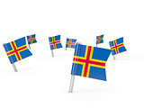 Square pins with flag of aland islands