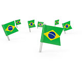 Square pins with flag of brazil