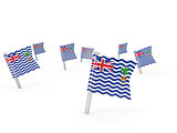 Square pins with flag of british indian ocean territory