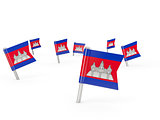 Square pins with flag of cambodia