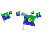 Square pins with flag of christmas island