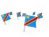 Square pins with flag of democratic republic of the congo