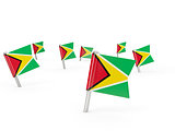 Square pins with flag of guyana