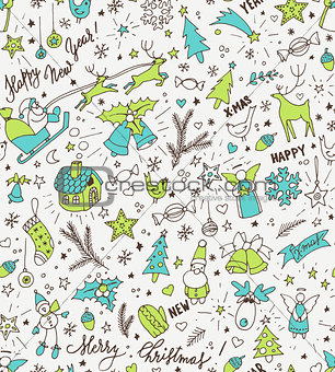 Sketchy neon bright doodle winter Christmas and New Year pattern