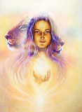 woman goddess holding a sourceful of a white light and Little lion cub head. abstract purple and yellow color background with spots. painting on vintage paper.