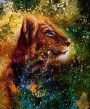 Little lion cub head. animal painting, abstract color background with spots.