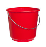 Single red bucket isolated