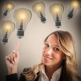 Businesswoman with lots of ideas