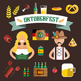 Set of flat Oktoberfest vector icons. Bottle Beer, Food and Drinks