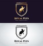 Retro Vintage cat monogram logo