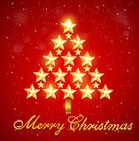 Christmas tree of gold shining stars