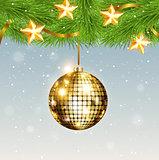 Shining golden decoration and stars