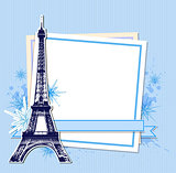 Blue Christmas background with Eiffel Tower