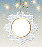Christmas banner with shining garland