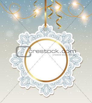 Christmas banner with shining garland