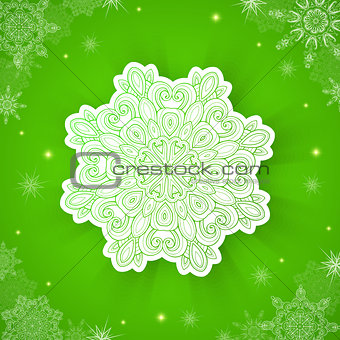 Green Christmas background with snowflake