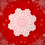 Red Christmas background with snowflake