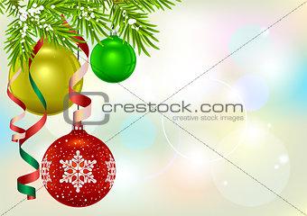 Christmas card template. Fir branch and Christmas balls