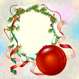 Christmas card template. Fir branch frame and Christmas ball