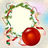 Christmas card template. Fir branch frame and Christmas ball