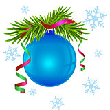 Fir branch and blue Christmas ball