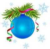 Fir branch and blue Christmas ball