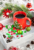 Christmas coffee cup and candies