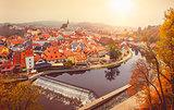 Cesky Krumlov river Vltava autumn