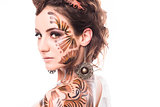 Bodyart on woman's face