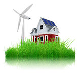 3D house with wind turbine in oversized grass