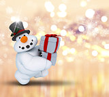 3D snowman on bokeh lights background