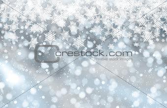 Christmas bokeh lights and snowflakes