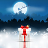 Christmas background with gift and santa