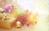 Christmas decorations background with vintage effect
