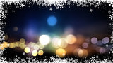 Christmas background of bokeh lights and snowflakes